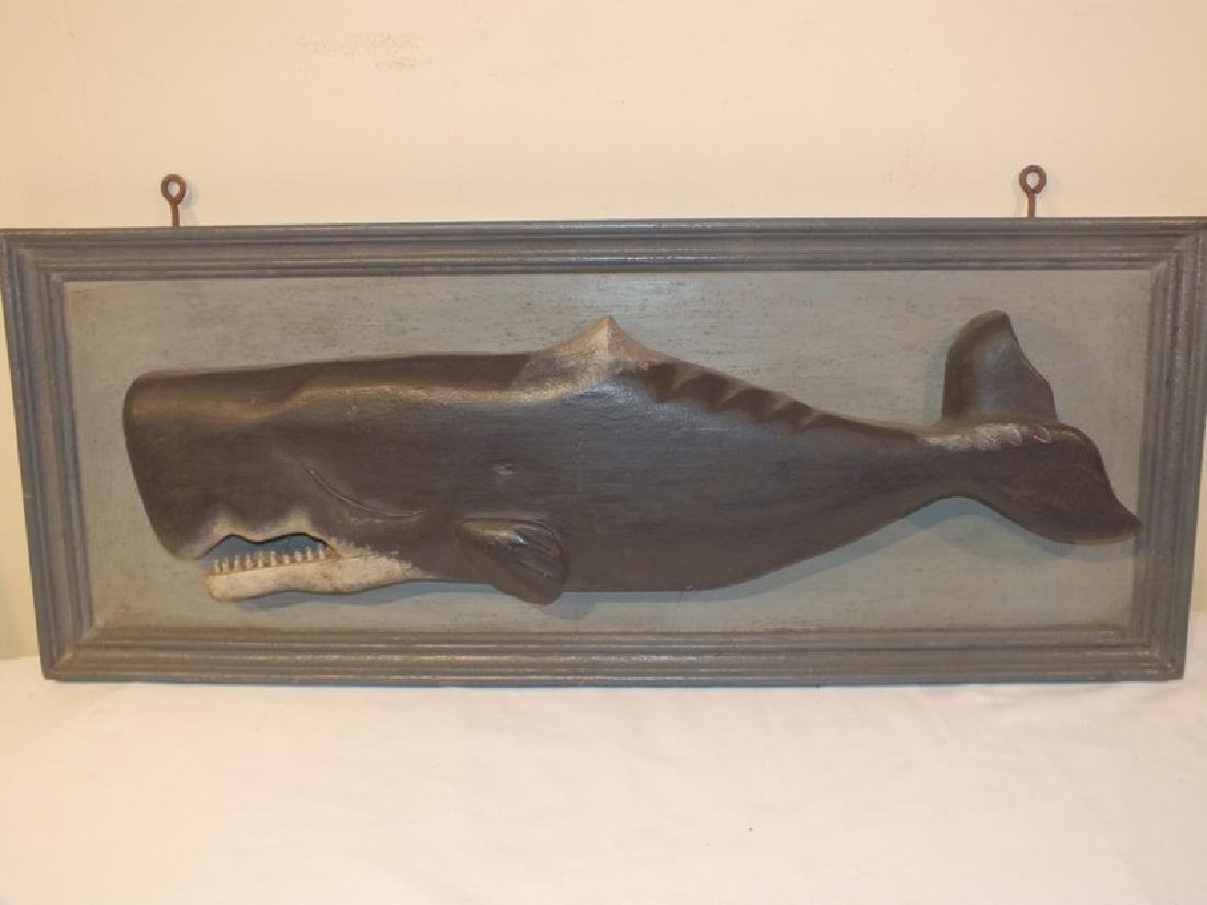LARGE PAINTED WOOD WHALE PLAQUE