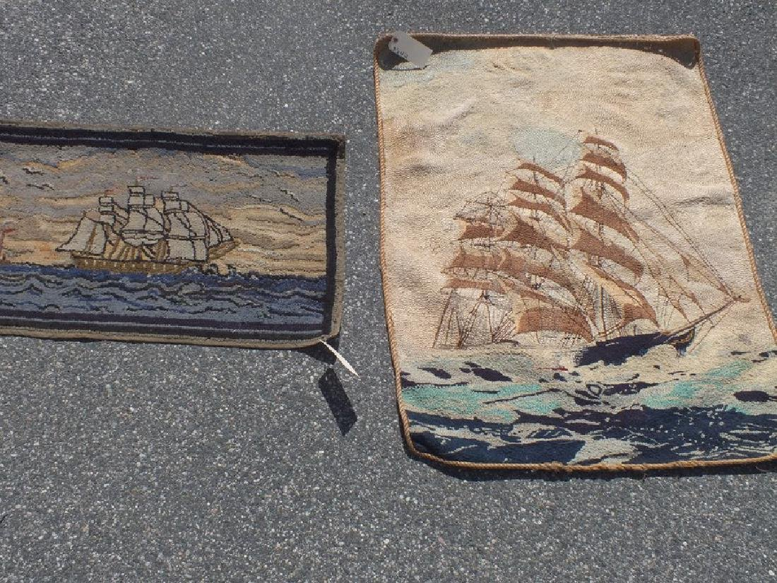 2 ANTIQUE HOOKED RUGS - SHIPS