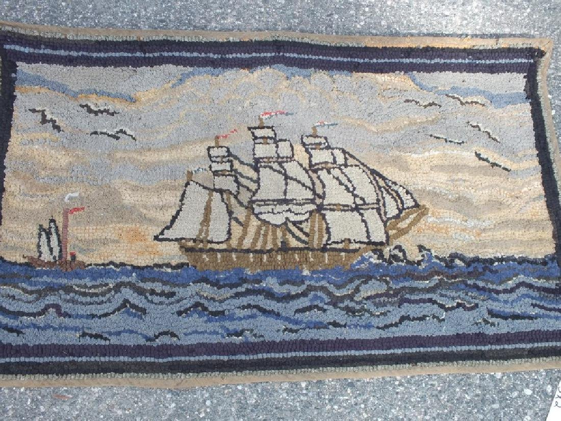 2 ANTIQUE HOOKED RUGS - SHIPS - 2