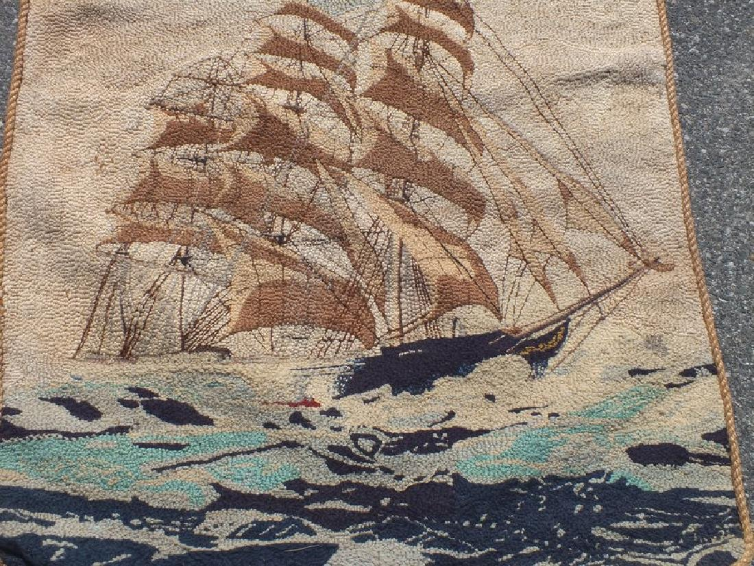 2 ANTIQUE HOOKED RUGS - SHIPS - 3