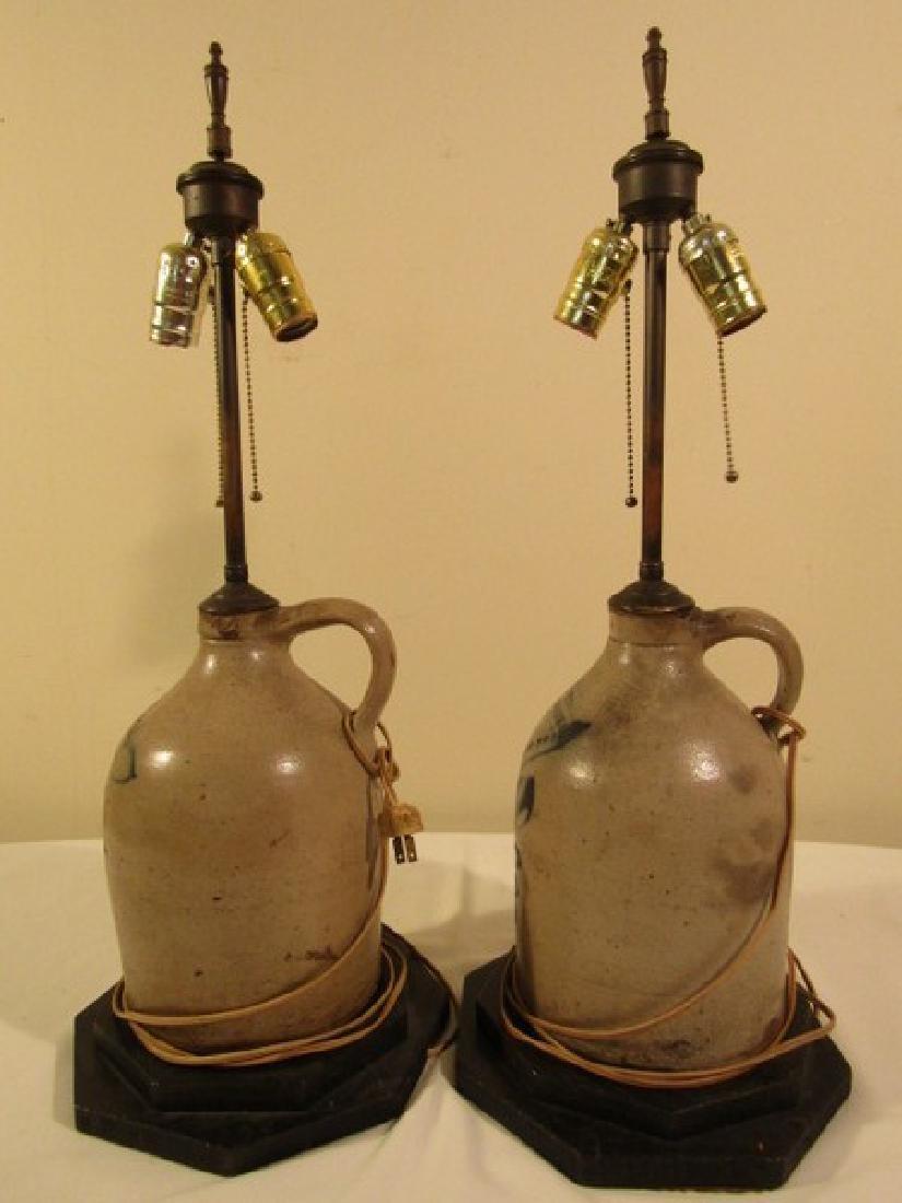 PAIR NY STONEWARE JUG LAMPS - 2