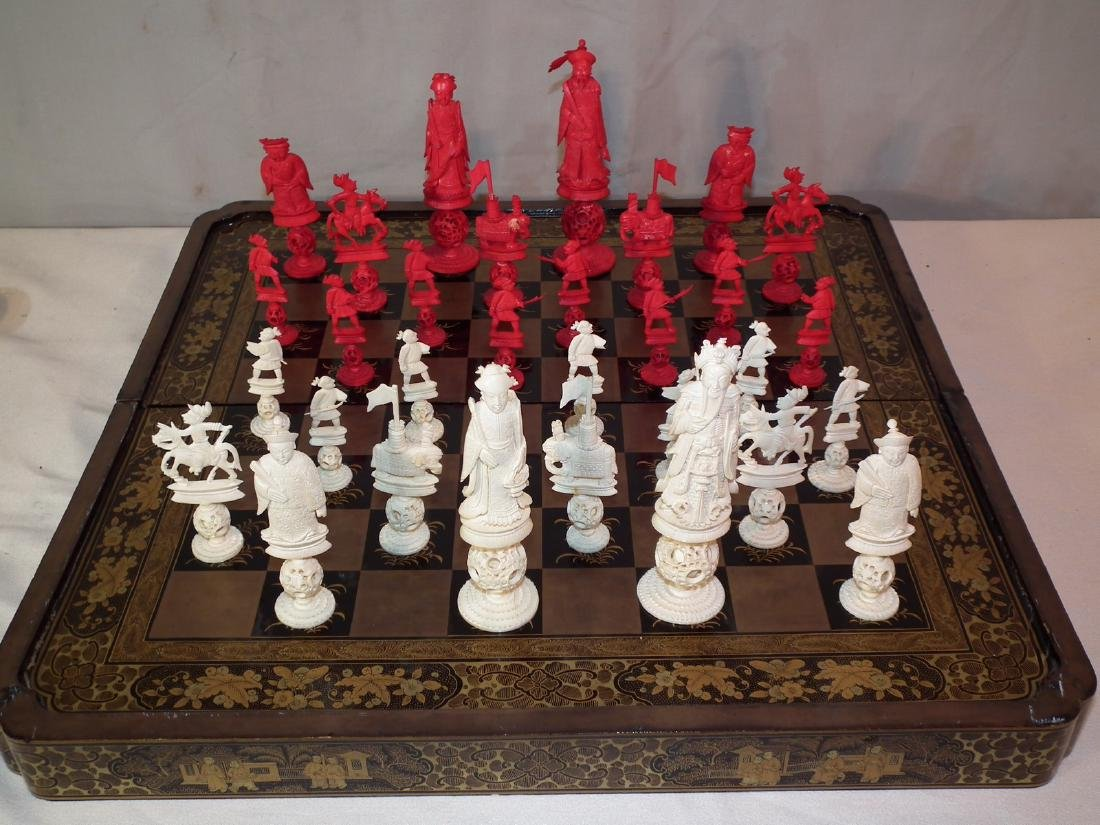 Antique Chinese Chess Set Aug 07