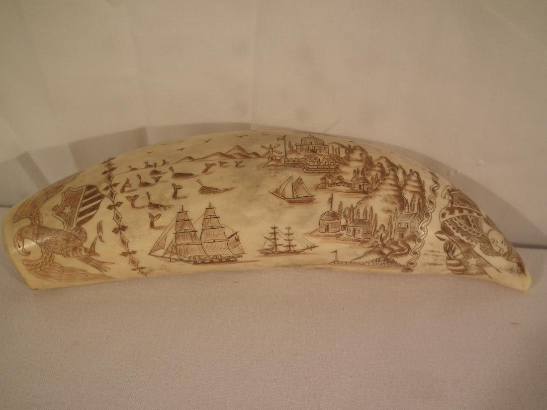 19TH C. SCRIMSHAW WHALE TOOTH