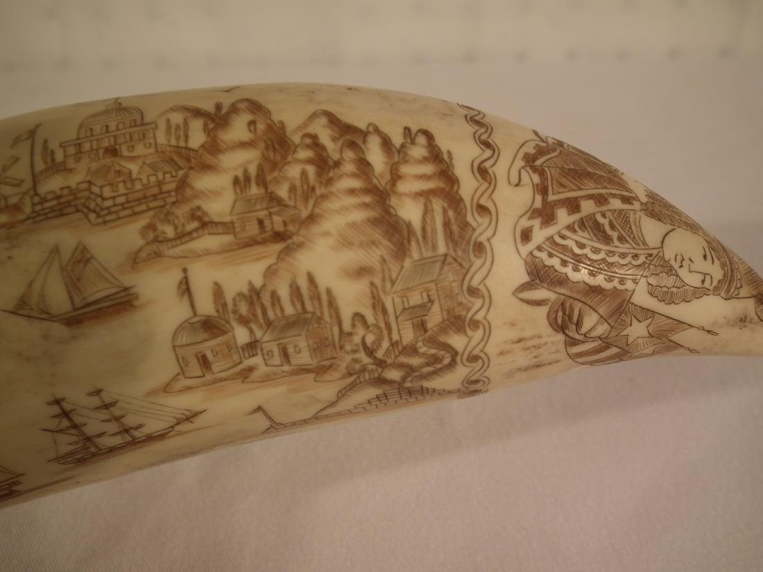 19TH C. SCRIMSHAW WHALE TOOTH - 2