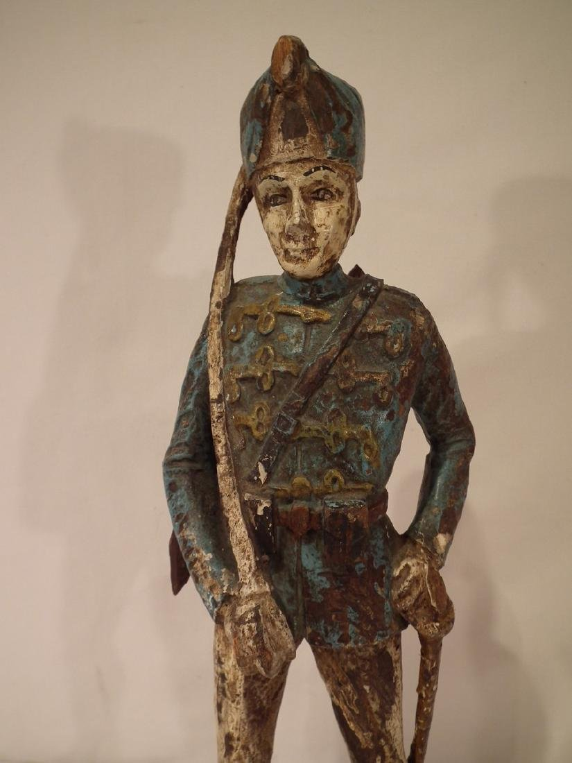 OLD CARVED WOOD HESSIAN SOLDIER - 2