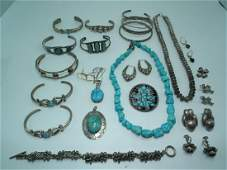 LARGE GROUP SILVER JEWELRY