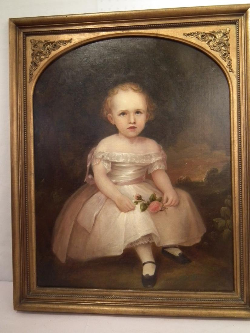 PRIMITIVE PORTRAIT PAINTING OF GIRL HOLDING ROSE