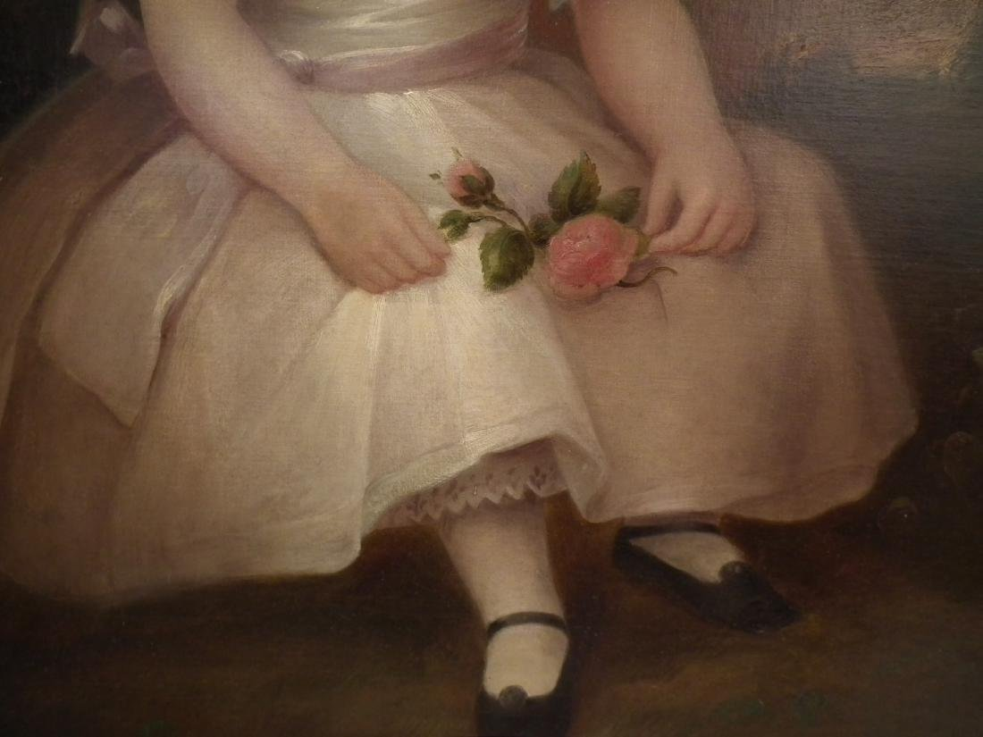 PRIMITIVE PORTRAIT PAINTING OF GIRL HOLDING ROSE - 2