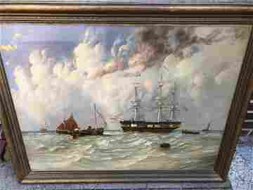 JW CARMICHAEL SHIPS PAINTING