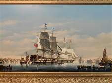 LARGE SALVATORE COLACICCO PAINTING  WARSHIPS IN MALTA
