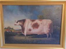 FOLK ART PAINTING OF COW