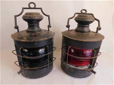 PAIR LARGE BRASS SHIP LANTERNS