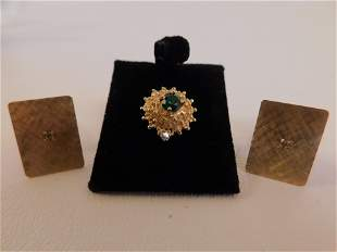 GOLD CUFFLINKS & GEMSTONE TIE TACK