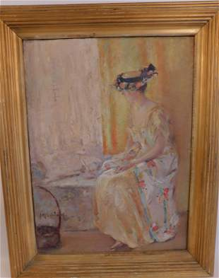 IMPRESSIONIST PAINTING OF INTERIOR & LADY - SIGNED