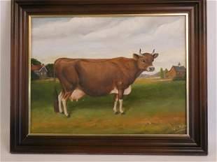 W.A. MAYHEW FOLK ART COW PAINTING