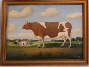 W.A. MAYHEW FOLK ART COW & HOME PAINTING