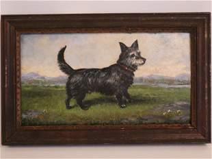 FOLK ART PAINTING SCOTTY DOG