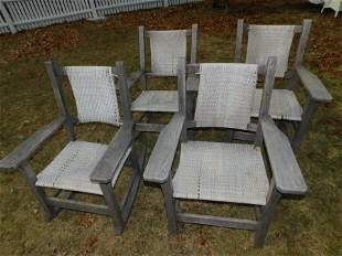 4 WOOD OUTDOOR CHAIRS