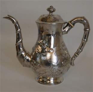 ANTIQUE CHINESE SILVER DRAGON PITCHER