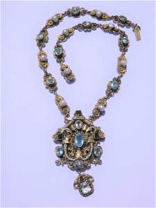 HUNGARIAN GILT SILVER & GEMSTONE NECKLACE