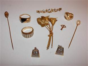 10 PIECES ASSORTED 14K GOLD JEWELRY