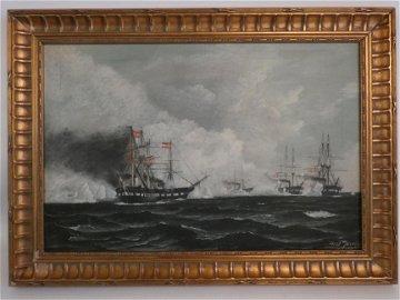 ANTONIO JACOBSEN SHIP BATTLE PAINTING