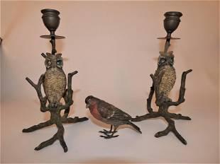 3 AUSTRIAN BRONZE BIRDS: OWL CANDLESTICKS