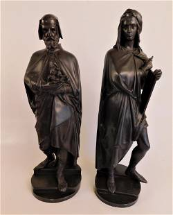 2 FRENCH BRONZE FIGURES BY A. CARRIER: MICHELANGELO &