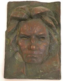 BRONZE BAS RELIEF OF BEETHOVEN SIGNED BUCH