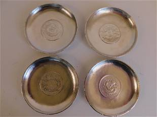 SET 4 CHINESE SILVER COIN TRAYS