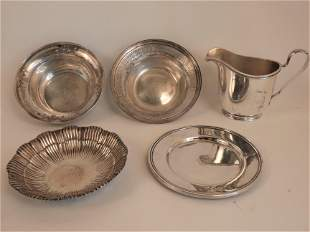 5 PIECES STERLING SILVER HOLLOWWARE