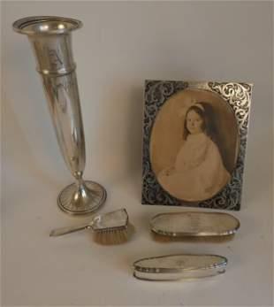 STERLING SILVER VASE, FRAME & VANITY ITEMS