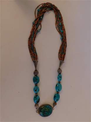 NAVAJO SILVER & TURQUOISE NECKLACE