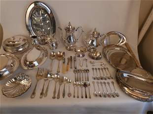 LARGE LOT SILVER PLATED ITEMS