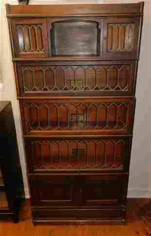 ANTIQUE OAK LEADED GLASS STACK BOOKCASE
