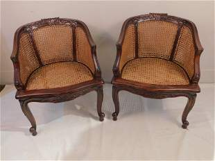 PAIR LOUIS XV CANED CHAIRS