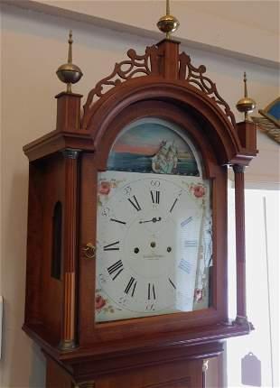 ELMER STENNES INLAID TALL CLOCK