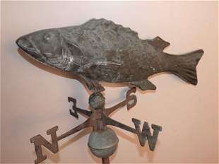 OLD COPPER FISH WEATHERVANE
