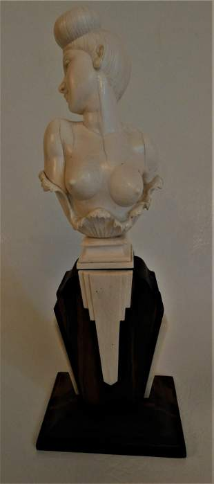 CARVED BONE BUST OF NUDE