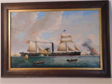 BURRELL CONFEDERATE SHIP BATTLE PAINTING