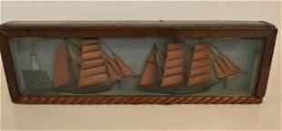 WOOD DIORAMA OF SHIPS 1918