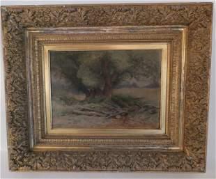 BRIDGHAM 1883 PAINTING OF TREE