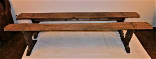 PAIR PINE LONG BENCHES