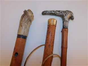 3 ANTIQUE CANES INCLUDING GOLD
