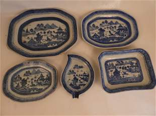 5 CHINESE CANTON SERVING PIECES