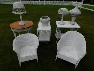 OLD WICKER FURNITURE & LAMPS