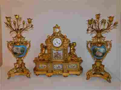 SUPERB FRENCH ORMOLU CLOCK SET BY RAINGO