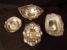 4 FANCY STERLING SILVER BOWLS BY WHITING  HOWARD