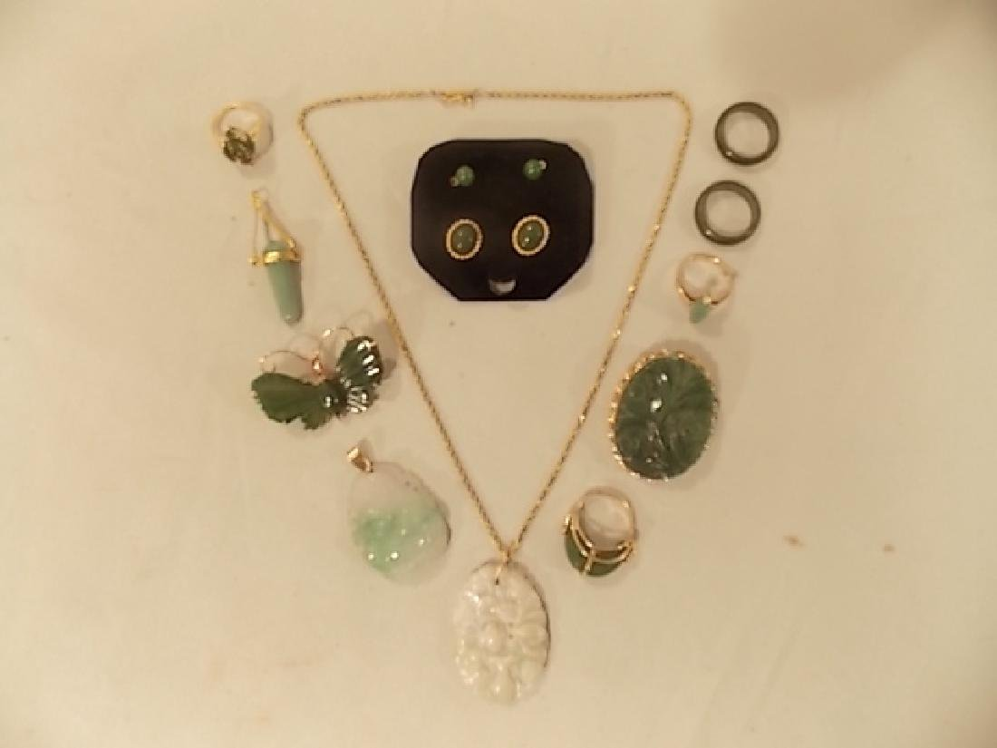 LARGE LOT OF JADE & 14K GOLD JEWELRY