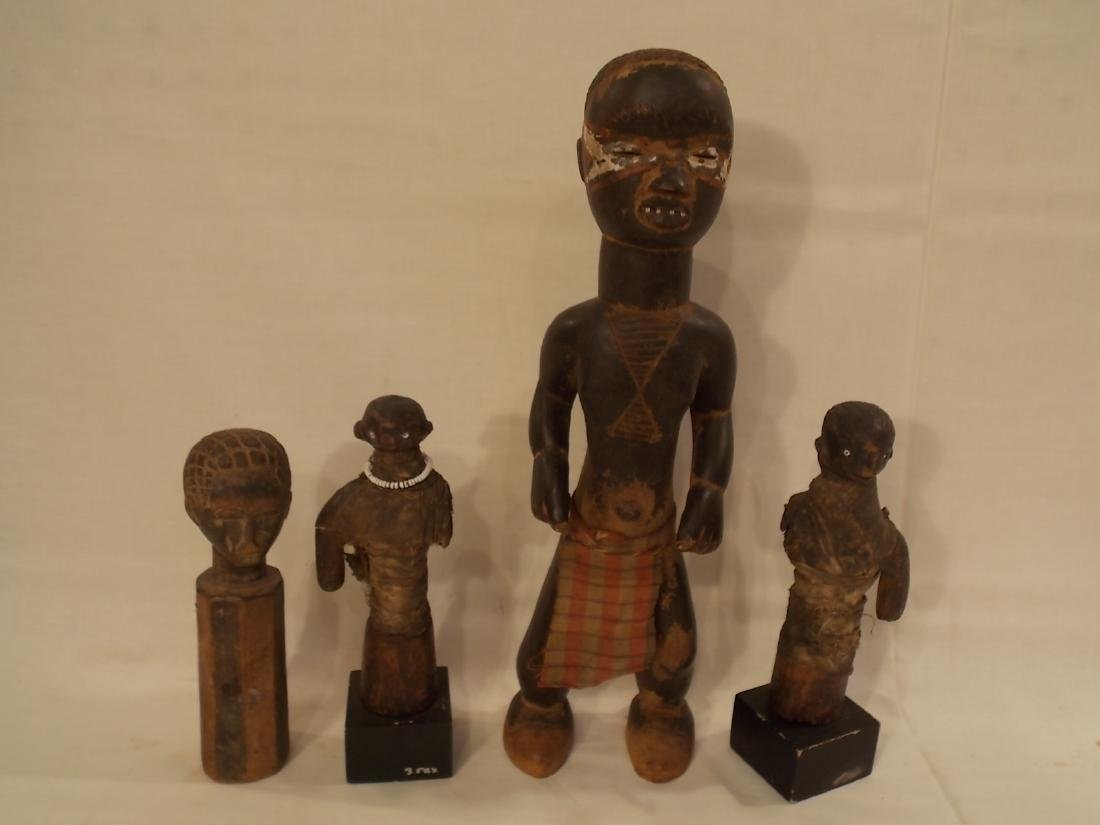 4 ASSORTED AFRICAN CARVED WOOD FIGURES
